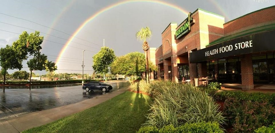 store front with rainbow