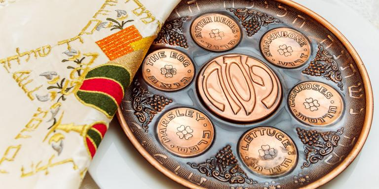 A plate used during Passover for Seder dinner